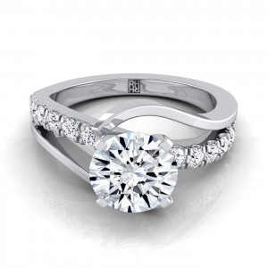 Diamond Engagement Ring With Bypass Inspired Shank In 14k White Gold (3/8 Ct.tw.)