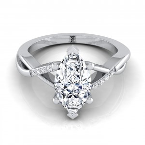 Marquise Cut Engagement Ring With Bypass Inspired Shank In 14k White Gold