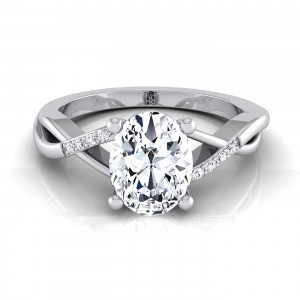 Oval Shape Engagement Ring With Bypass Inspired Shank In 14k White Gold