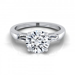 Diamond Engagement Ring With Tapered Baguette Sides In 14k White Gold (1/5 Ct.tw.)