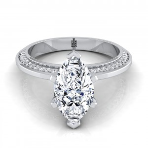 Marquise Engagement Ring With Knife Edge Pave Gallery In 14k White Gold