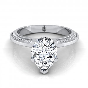 Pear Shaped Engagement Ring With Knife Edge Pave Gallery In 14k White Gold