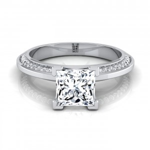 Princess Cut Engagement Ring With Knife Edge Pave Gallery In 14k White Gold