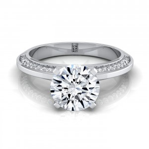 Diamond Engagement Ring With Knife Edge Pave Gallery In 14k White Gold