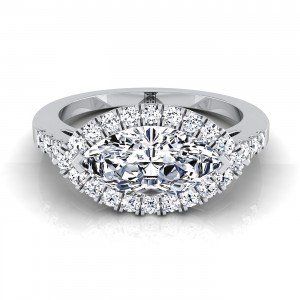Marquise Diamond Halo Engagement Ring East West With Diamond Pave Shank In 14k White Gold (1/3 Ct.tw.)