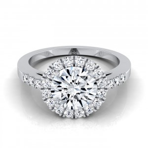 Diamond Halo Engagement Ring With Diamond Pave Shank In 14k White Gold (1/3 Ct.tw.)