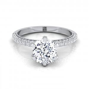 Cushion Cut Diamond Engagement Ring With Pave Shank And Basket In 14k White Gold (3/8 Ct.tw.)