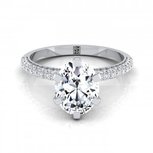 Oval Diamond Engagement Ring With Pave Shank And Basket In 14k White Gold (3/8 Ct.tw.)