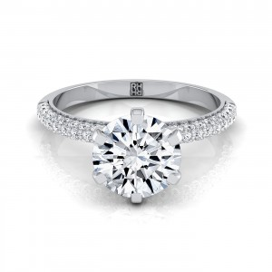 Diamond Engagement Ring With Pave Shank And Basket In 14k White Gold (3/8 Ct.tw.)