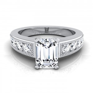 Emerald Cut Engagement Ring With Channel Set Shank And Beaded Detail In 14k White Gold (1/2 Ct.tw.)