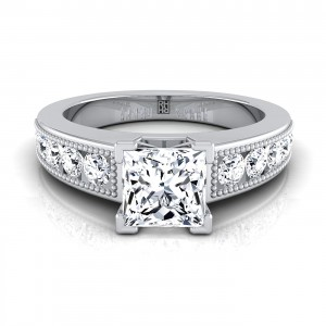 Princess Cut Engagement Ring With Channel Set Shank And Beaded Detail In 14k White Gold (1/2 Ct.tw.)