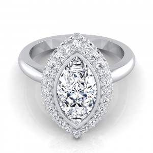 Marquise Bezel And Pave Halo Engagement Ring With Flat Shank In 14k White Gold