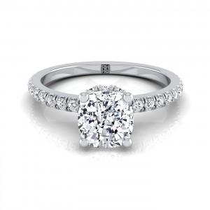 Cushion Cut Classic Petite Split Prong  Diamond Engagement Ring In 14k White Gold (1/4 Ct.tw.)