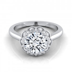 Diamond Scalloped Halo Engagement Ring In 14k White Gold (1/10 Ct.tw.)