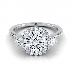 Diamond Halo Engagement Ring With Round Prong Set Shoulders And Pave Shank In 14k White Gold