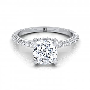 Classic 4-prong Cushion Cut Diamond Engagement Ring With Pave Shank In 14k White Gold (3/8 Ct.tw.)