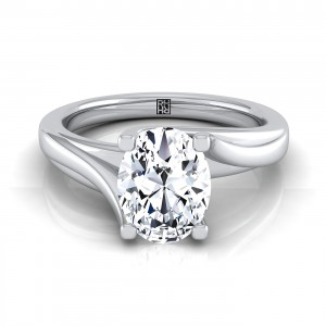 Oval Diamond Solitaire 4 Prong Bypass Engagement Ring In 14k White Gold