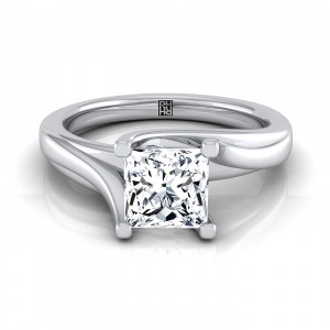 Princess Cut Diamond Solitaire 4 Prong Bypass Engagement Ring In 14k White Gold