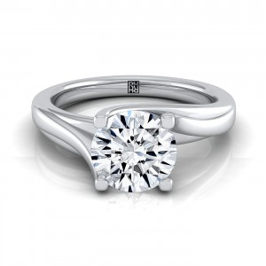 Brilliant Cut Diamond Solitaire 4 Prong Bypass Engagement Ring In 14k White Gold