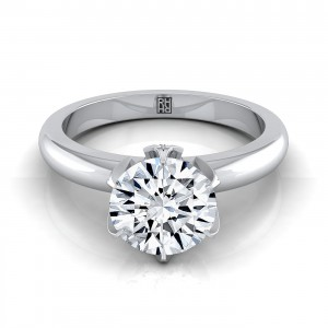 Brilliant Cut Diamond Engagement Ring With Pave Accent Basket In 14k White Gold