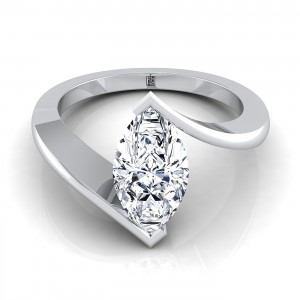 Marquise Diamond Solitaire Engagement Ring In 14k White Gold