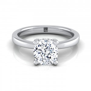 Cushion Cut Diamond Solitaire With Pave Basket Setting In 14k White Gold