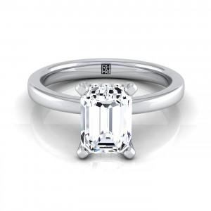Emerald Cut Diamond Solitaire With Pave Basket Setting In 14k White Gold