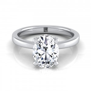 Oval Diamond Solitaire With Pave Basket Setting In 14k White Gold