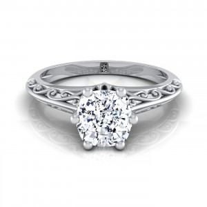 Cushion Cut Diamond Solitaire Engagement Ring With Graduated Shank Scroll Detail In 14k White Gold