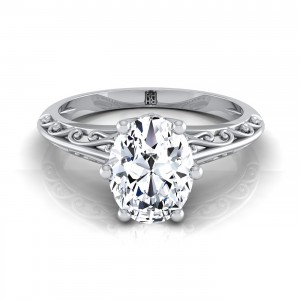 Oval Diamond Solitaire Engagement Ring With Graduated Shank Scroll Detail In 14k White Gold