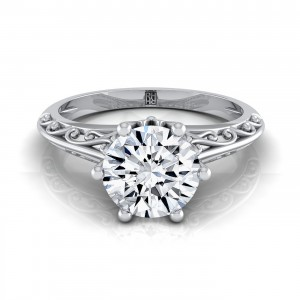 Diamond Solitaire Engagement Ring With Graduated Shank Scroll Detail In 14k White Gold