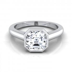 Asscher Cut Bezel Solitaire Engagement Ring In 14k White Gold