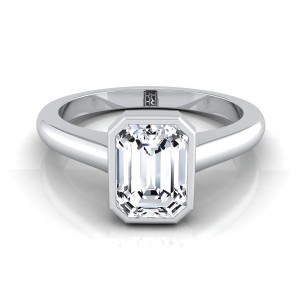 Emerald Cut Bezel Solitaire Engagement Ring In 14k White Gold