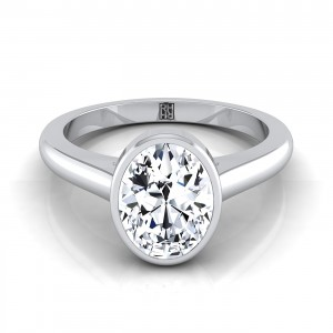 Oval Bezel Solitaire Engagement Ring In 14k White Gold