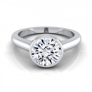 Diamond Bezel Solitaire Engagement Ring In 14k White Gold