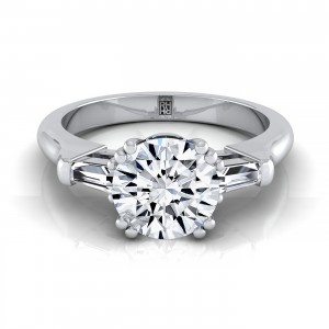 Diamond Engagement Double Prong Ring With Tapered Baguette Side Stones In 14k White Gold (1/4 Ct.tw.)