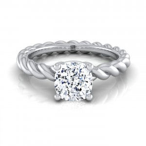 Cushion Cut Diamond Engagement Ring With Rope Shank In 14k White Gold