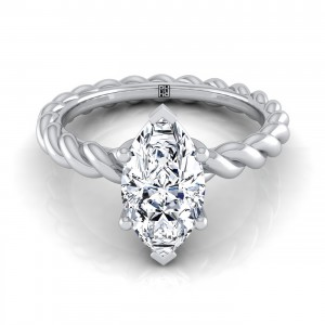 Marquise Diamond Engagement Ring With Rope Shank In 14k White Gold
