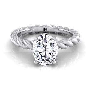 Oval Diamond Engagement Ring With Rope Shank In 14k White Gold