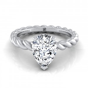 Pear Shape Diamond Engagement Ring With Rope Shank In 14k White Gold