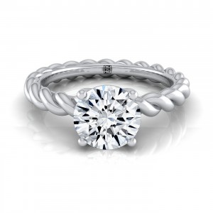 Diamond Engagement Ring With Rope Shank In 14k White Gold