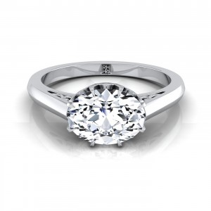 Oval Diamond Engagement Ring East West With Scroll Gallery Shank In 14k White Gold