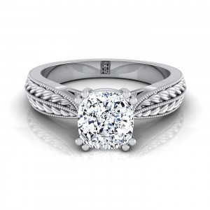Cushion Cut Diamond Engagement Ring With  Petite Wheat Design And Beaded Frame In 14k White Gold