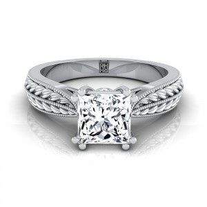 Princess Cut Diamond Engagement Ring With  Petite Wheat Design And Beaded Frame In 14k White Gold