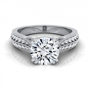 Diamond Engagement Ring With Petite Wheat Design And Beaded Frame In 14k White Gold