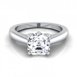 Asscher Cut Diamond Solitaire Engagement Ring With Scroll Gallery Design In 14k White Gold