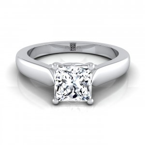 Princess Cut Diamond Engagement Ring With Scroll Gallery Shank In 14k White Gold