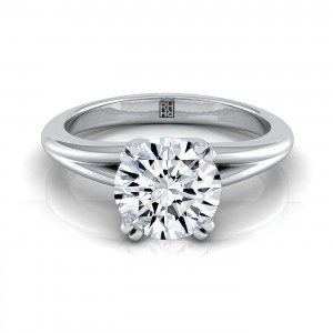 Diamond Engagement Ring With Rounded Shank In 14k White Gold