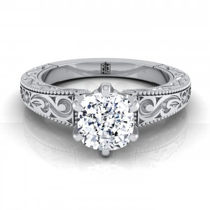 Cushion Cut Antique Inspired Engraved Diamond Engagement Ring With Millgrain Finish In 14k White Gold