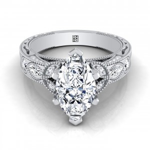 Marquise Engagement Ring With Leaf Accent And Beading Detail In 14k White Gold